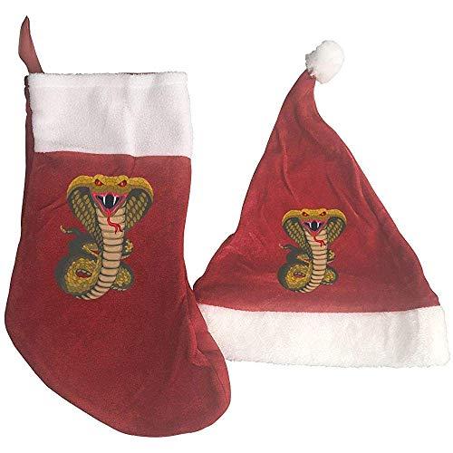 Calcetines De Navidad,Terror Cobra Print Medias Y Sombrero De Navidad Sombrero De Santa + Calcetines...