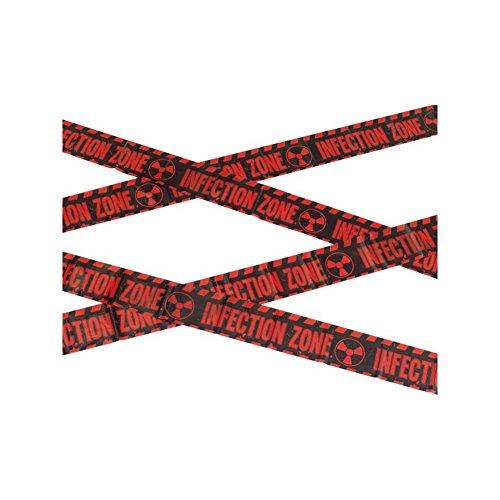 Smiffy's-47021 Cinta Precaución: zona de infección zombi, 6m / 236in, color rojo y negro, No es...
