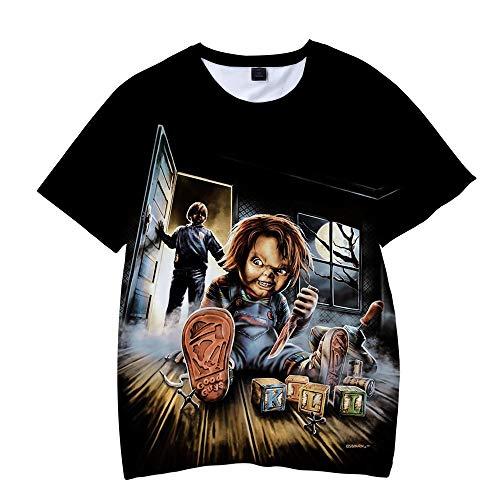 BSHDUFN Good Guys Chucky Camiseta Tramo Flojo Cuello Redondo Camiseta de la Camiseta del patrón del...