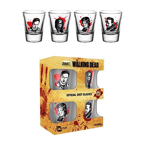 The Walking Dead Official - Vasos de chupito con los personajes (Paquete de 4) (Talla...