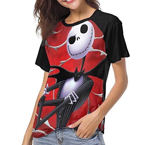 Pesadilla Antes de Navidad Mujer Camiseta de Manga Corta Camisetas Béisbol(M,Negro)