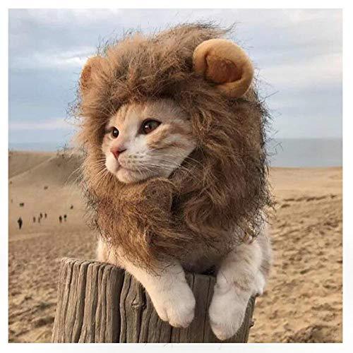 EONAZE Peluca de León para Perros Gato Mascota Ajustable Disfraz Gato León Melena con Orejas Gato...