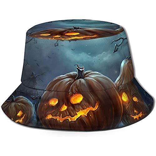Sombrero de Cubo Packable Calabazas de Miedo en el Cementerio Feliz Noche de Halloween Imprimir...
