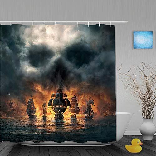 SSZO Cortina de baño Repelente al Agua,Ilustración 3D de Terror del Barco Pirata Que Viene en...