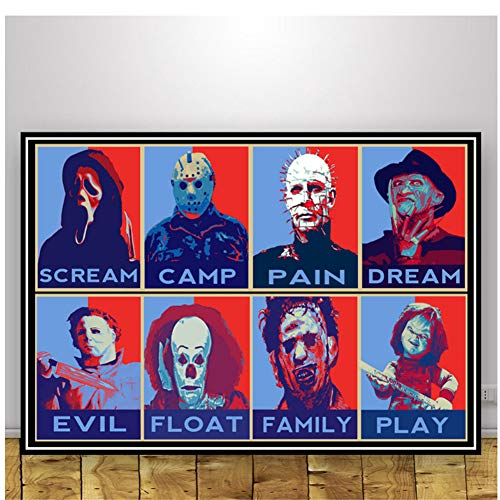 Jason Voorhees Freddy Krueger Horror Movie Art Poster Prints Canvas Painting Wall Pictures for...