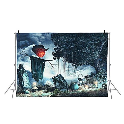Andoer 1.5 * 2m Telón de Fondo de Fotografía Impresión Digital Halloween Calabaza Cementerio...