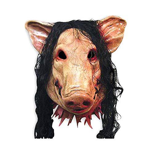 Hosaire 1x Máscara de Terror Halloween Cabeza de Cerdo con Cabello Novedad de Látex de Caucho...