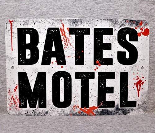 Toll2452 - Señal de metal con texto en inglés 'BATES MOTEL horror psycho asesinato muerte,...
