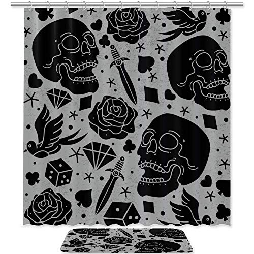 Bennigiry - Juego de cortinas de ducha con tatuajes de terror y accesorios de baño de poliéster de...