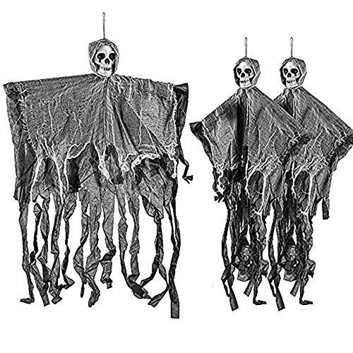 THE TWIDDLERS 3 Esqueletos Fantasma Tenebrosos Colgantes - Cuelgan hasta 70 cm Desde el Techo,...