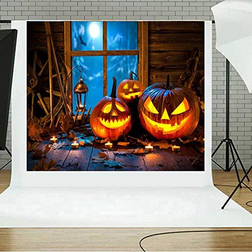 JiaMeng Decoración del hogar Fondos de Halloween Calabaza Vinilo 5x3FT Fondo de fotografía de...