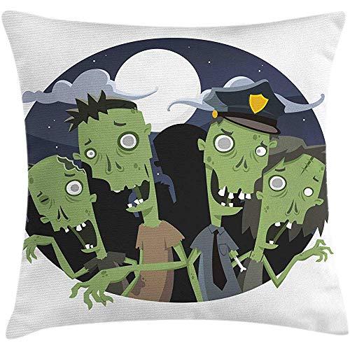 Funda de cojín de Almohada de Zombie de 2 Piezas,demostración de imágenes nocturnas de Halloween...