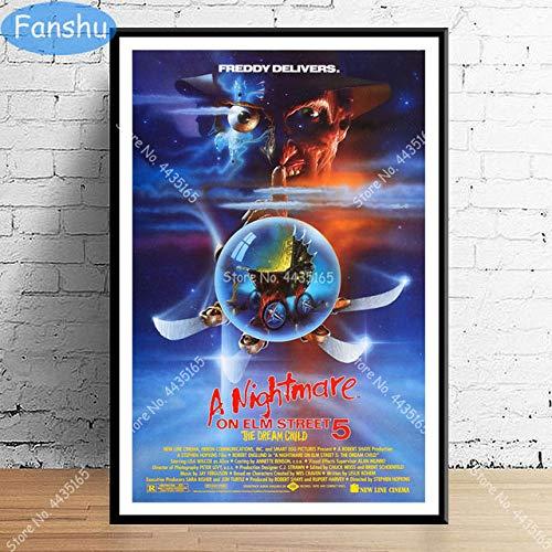 MHHDD Cartel Caliente clásico película de Terror Pared Arte Lienzo Pintura Cartel y decoración de...