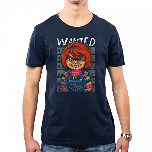 PACDESIGN Camiseta Hombre Child Wanted Horror Halloween Movies Chucky Vt0015a, M, Navy