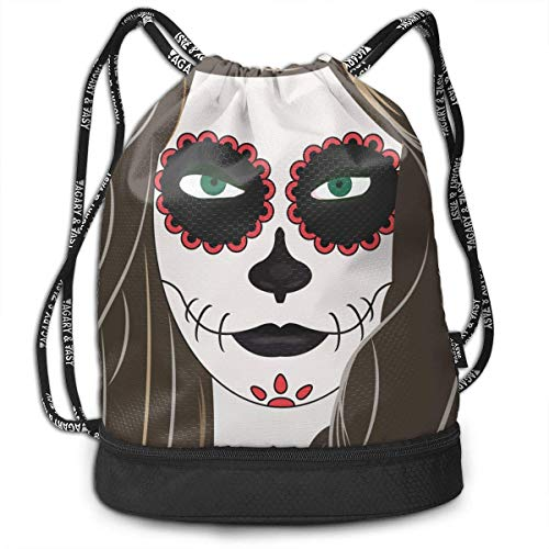 RTFGH Halloween Girl Makeup Terror Bundle Mochila Ultra-Durable Mochila con cordón Bolsas...