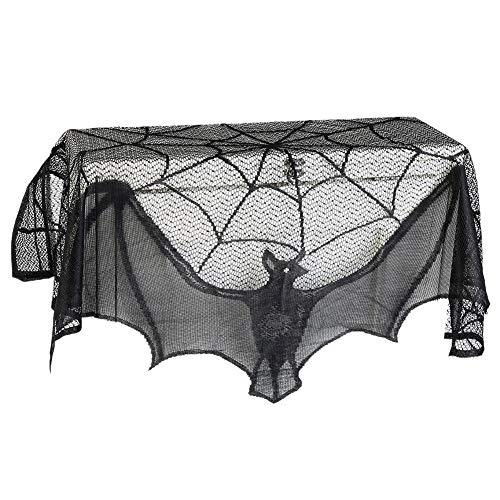 Set de decoración de Halloween Halloween Negro araña Web murciélago Chimenea Cortinas de Tela 1...