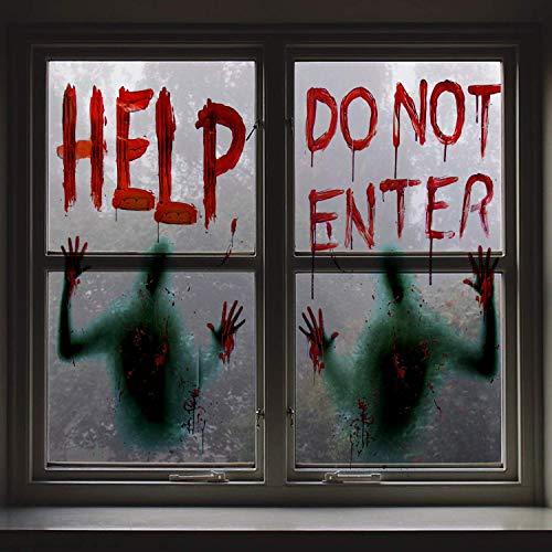 Angshop 2 piezas Halloween sangrienta ventana sangrienta carteles Decoración del partido para las...