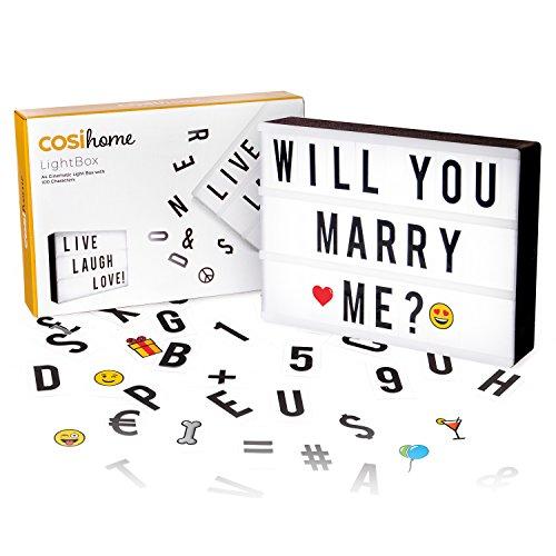Cosi Home ™ - Caja de luz LED en formato A4 con letras, Emoji, emoticonos y símbolos para...