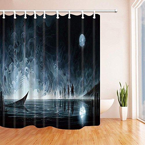 CDHBH Cortinas de ducha para baño, agua, fantasma, esqueleto, luna completa, temática de terror,...