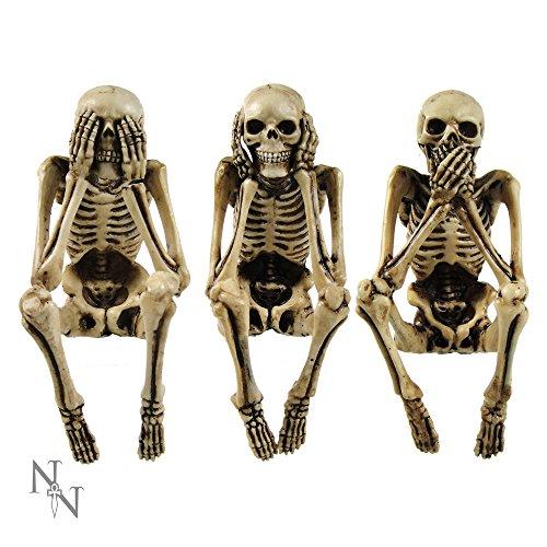 Nemesis Now Figura de Esqueleto de Tres sabios (24 cm), Color Marfil