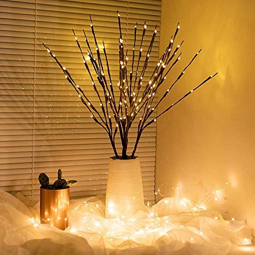 Winnes Lámpara Decorativa con Ramas y 20 Leds Que Funciona con baterias para Navidad, Halloween,...