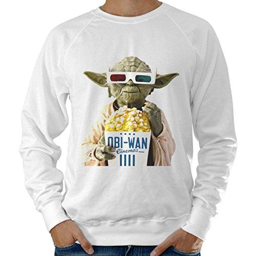 Sudadera ligera para hombre Star Wars Yoda Pop Corn Cine–Blanco Bianco Large