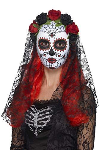 Smiffys-44639 Máscara de señorita del día de Muertos, Cara Completa, con Rosas, Color Rojo y...