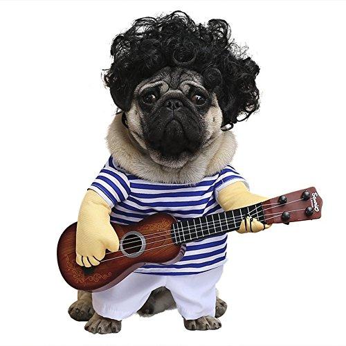 Cleana Arts - Disfraz de perro, para mascotas, estilo de guitarra, gato, disfraz para perros...