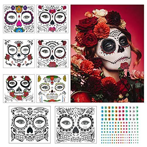 Tatuaje cara temporales Halloween ZERHOK 8pcs etiqueta Mascarada diseño cráneo con gemas cara...