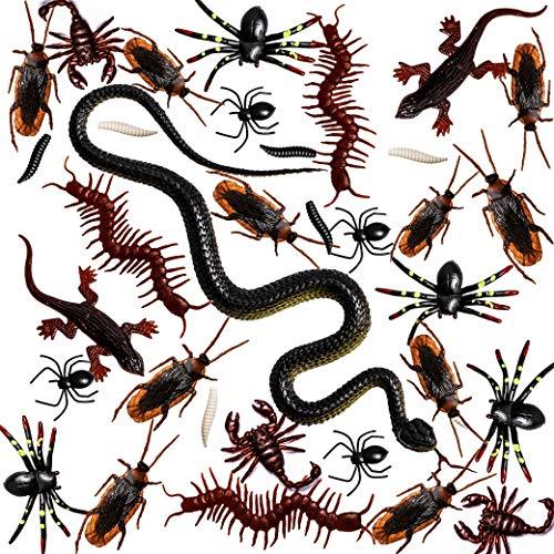 Whaline 148 Piezas de plástico Insectos realistas del día de Falsos Serpiente cucarachas arañas...