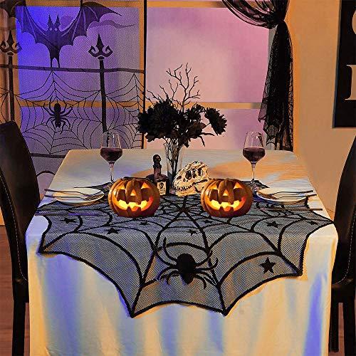 DECARETA Mantel de Halloween Telaraña de telaraña Negra Redonda Telaraña de decoración de Mesa...