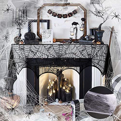 BUZIFU Set de Decoración de Halloween Contiene Una Telaraña, 30 Arañas de Plástico y Una Tela de...