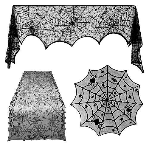TUPARKA 3 Piezas Decoraciones de Halloween Set, Spiderweb Rectangular Spooky Bat Mantel de Encaje,...