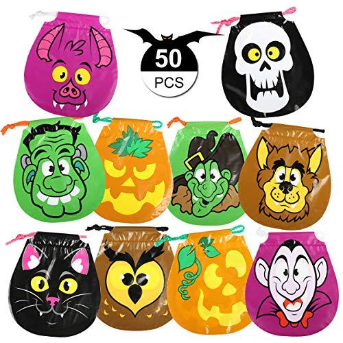 GWHOLE 50 x Bolsa de Dulces Halloween para Niños con Cordón Bolsa de Calabaza Bolso Divertido...